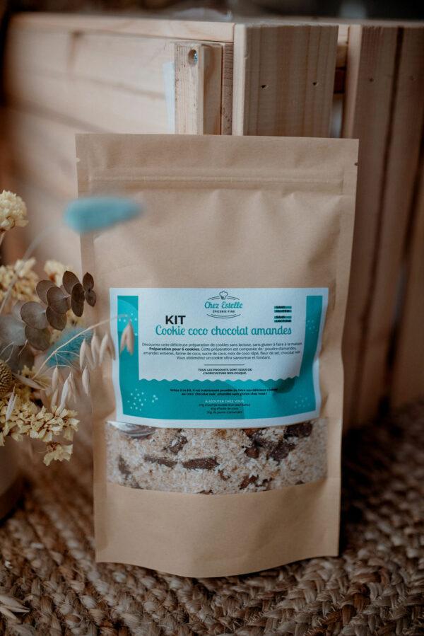 Kit à cookies coco chocolat amandes, sans gluten et sans lactose, épicerie bio Chez Estelle