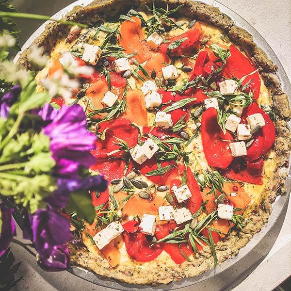 Tarte salée végétarienne et salade, Chez Estelle Langon
